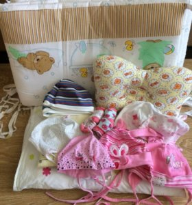 Шапочки, подушки, комбинезоны.