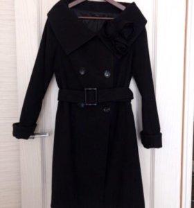 Пальто чёрное б/у