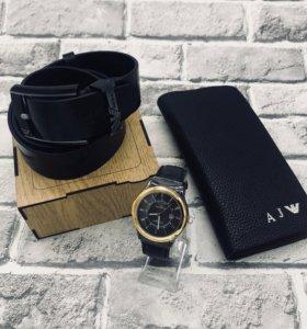 Подарочный Набор ARMANI 🔥🔥🔥 Часы+Ремень+Клатч