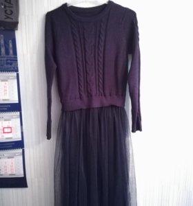 Платье модное новое синее с фатиновой юбкой