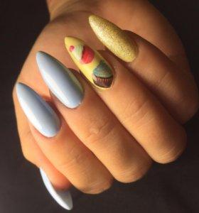 Покрытие гель- лаком, наращивание ногтей