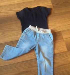 Джинсы футболка 80см