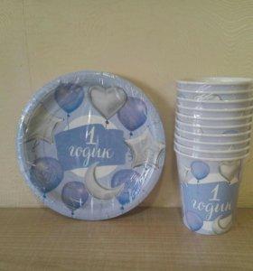 Набор посуды 1 годик шары