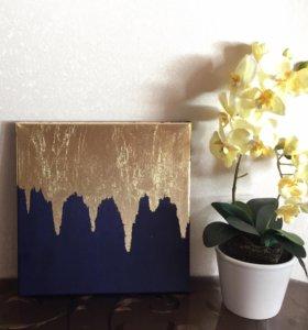 Картина абстракция с золотом