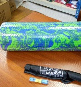 Ролик йоги и пилатеса массаж. 45х14 см, зел/син