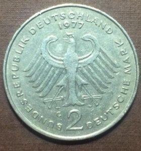 2 марки ФРГ 1977 G