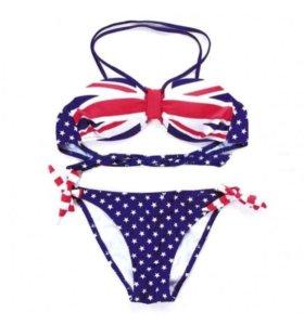 Купальник бондо британский флаг, американский флаг