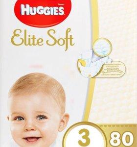 Huggies Elite Soft 3 (5-9 кг)-80 штук