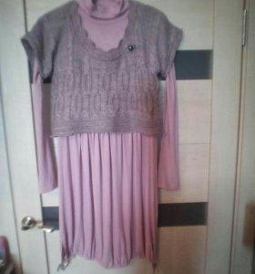 Платье с жилеткой 44-46 разм.Турция.
