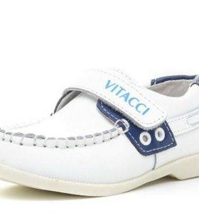 Туфли мокасины белые на мальчика 16 см