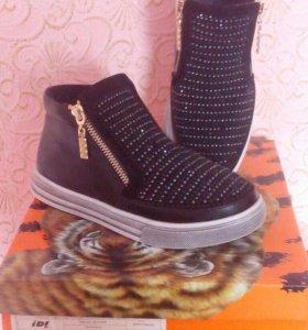 Ботинки черн.с блестками жен