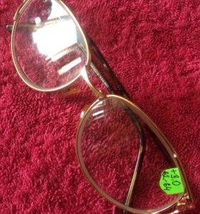Женские очки +3,0 диоптрии металл позолота