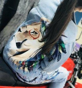 Новая джинсовая куртка! Ручная роспись!