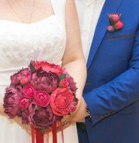 Свадебный букет, бутоньерка, украшение