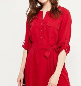 Новое платье-рубашка бордового)малинового цвета