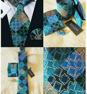 Мужские наборы (галстук платок и запонки) #1