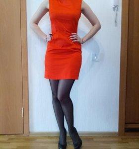 Новое Платье-футляр ярко оранжевого цвета)