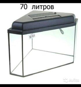 Угловой аквариум 70литров,б/у.