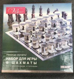 Шахматы со стеклянными стопками