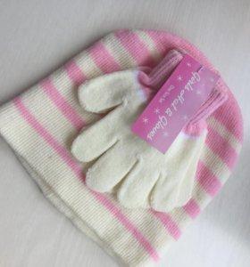 Шапка и перчатки новое