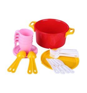 Набор детской посуды(розовый)новый