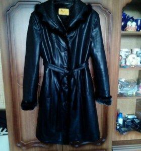 Пальто, эко-кожа, размер 46-48