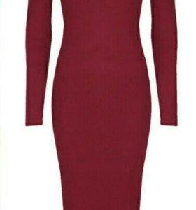 Платье футляр винного цвета BERSHKA