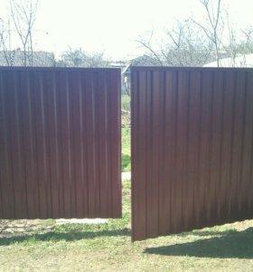 Ворота калитки из профнастила