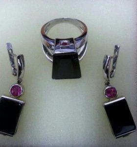 Комплект. Серьги,кольцо, цепь,кулон.