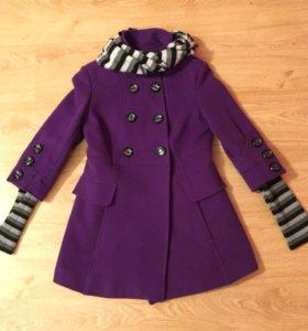 Пальто демисезонное женское шарф в комплекте