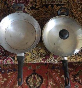Сковороды, чайники латунь ( клеймо), чугунок