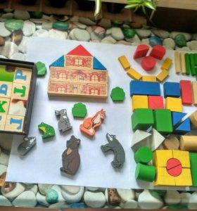 Кубики из дерева, сказка Теремок, кубики с буквами