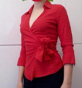 Блузка-рубашка с бантом