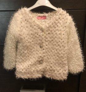 Вязаное пальто на флисе