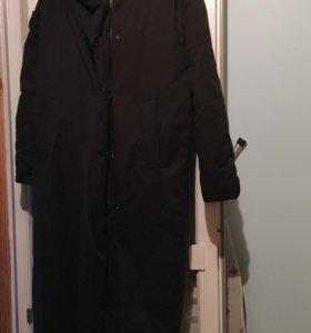 Пуховик пальто длинный чёрный одеяло