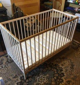 Детская кроватка ИКЕА + матрас
