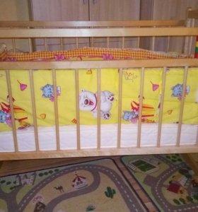 Детская кроватка с матрацем,бортик в подарок