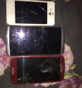 Продаю 3 нерабочих телефона