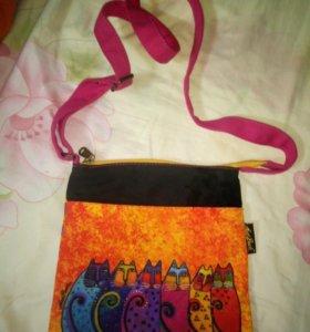 Новая Ярко-оранжевая крутая сумочка с котиками
