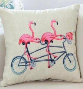 Наволочка на подушку фламинго 1