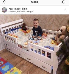 Новая деревянная детская кровать 80 * 160