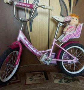 Велосипед для девочки с местом для куклы