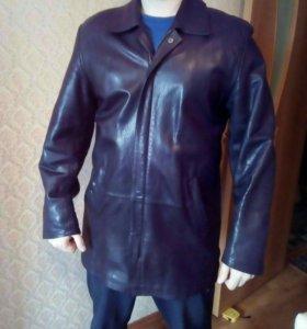 Куртка кожаная удлиненная мужская