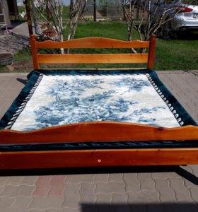 Кровать из натурального дерева 195×165 см