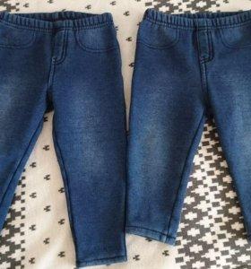 Mothercare 12-18 18-24 тёплые джинсы на флисе
