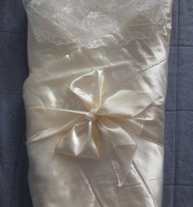 конверт-одеяло с кружевом на выписку choupette