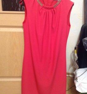 Платье коралловое новое р 44-46