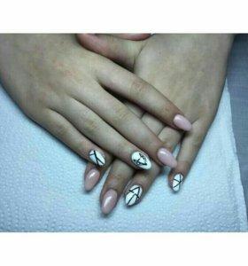 Наращивание ногтей, покрытие гель-лак (шеллак)