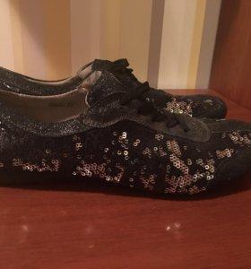 Чёрные Кеды кроссовки с Пайетками
