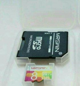 Карта памяти MicroSD на 8Гб, 10 class новая